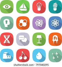 flat vector icon set - eye vector, boat, bulb, head, atom core, dna, discussion, floor lamp, led, factory, cherry, drop, shining