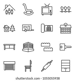 Flat vector icon set - family home vector, rocking chair, tv, local network, chalet, trailer, phone, school, desk, building, blocks, key, garage, rolling pin, wardrobe