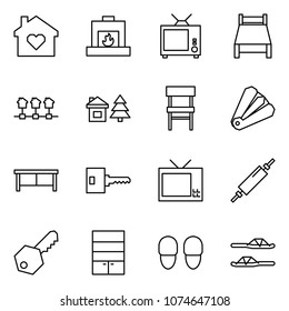 Flat vector icon set - family home vector, fireplace, tv, bed, local network, chalet, chair, anti stapler, desk, key, rolling pin, wardrobe, slippers