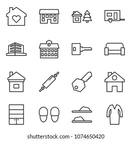Flat vector icon set - family home vector, house, chalet, trailer, office, school, key, sofa, rolling pin, wardrobe, slippers, bathrobe
