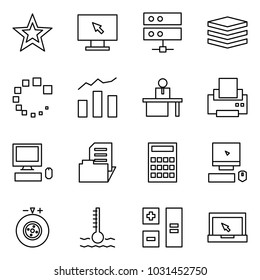 Flat vector icon set - favorites vector, monitor, server, data, loading, statistics, manger, printer, pc, document folder, calculator, tyre balance, coolant, notebook