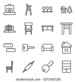 Flat vector icon set - fireplace vector, baby chair, local network, chalet, office, desk, stool, blocks, key, sofa, home, rolling pin, wardrobe
