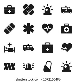 Flat vector icon set - first aid kit vector, doctor bag, ambulance star, heart pulse, patch, hospital bed, amkbulance car, bandage, siren