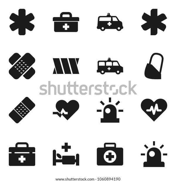 Flat vector icon set - first aid kit vector, doctor bag, ambulance star, heart pulse, patch, hospital bed, amkbulance car, bandage, siren