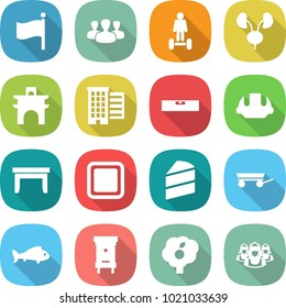 flat vector icon set - flag vector, group, hoverboard, kidneys, arch, houses, level, building helmet, table, cutting board, cake, trailer, fish, hive, garden, outsource