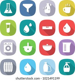 flat vector icon set - flask vector, funnel, cleanser, hot drink, test vial, blood drop, level, washing machine, ladle, cauldron, measuring cup, barrel, shampoo, liquid soap