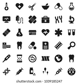 Flat vector icon set - flask vector, pills vial, doctor bag, ambulance star, heart pulse, cross, thermometer, dna, magnifier, pregnancy, syringe, scissors, sand clock, patch, blister, mortar, sperm