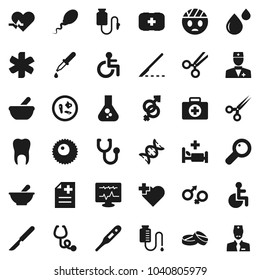 Flat vector icon set - flask vector, heart cross, first aid kit, ambulance star, disabled, pulse, doctor, thermometer, gender sign, dna, magnifier, dropper, scissors, scalpel, stethoscope, pills