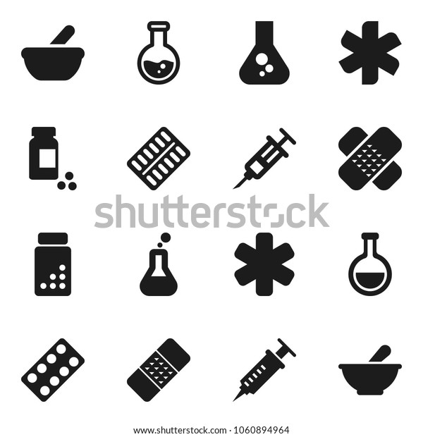 Flat vector icon set - flask vector, pills vial, ambulance star, syringe, patch, blister, mortar