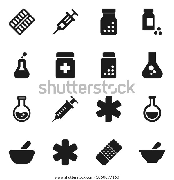 Flat vector icon set - flask vector, pills vial, ambulance star, syringe, patch, bottle, blister, mortar