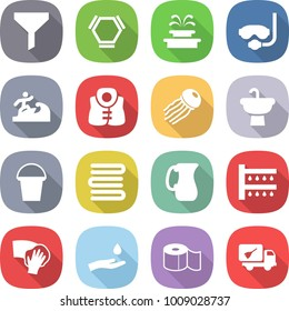 flat vector icon set - funnel vector, hex molecule, fountain, diving mask, surfer, life vest, jellyfish, sink, bucket, towels, jug, watering, wiping, hand and drop, toilet paper, home call cleaning