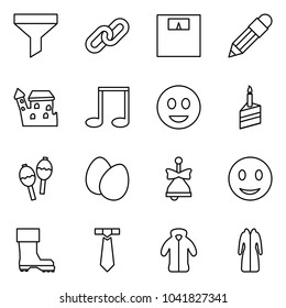 Flat vector icon set - funnel vector, link, weight, pencil, castle, note, fun, cake, maracas, eggs, bell, smile, boot, tie, coat