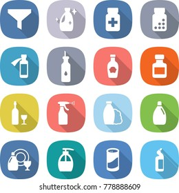 flat vector icon set - funnel vector, cleanser, pills bottle, potion, vegetable oil, ketchup, wine, sprayer, shampoo, dish, liquid soap, powder, toilet