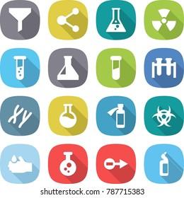 flat vector icon set - funnel vector, molecule, flask, nuclear, vial, test, chromosomes, potion bottle, biohazard, acid, chemical, electron, toilet cleanser