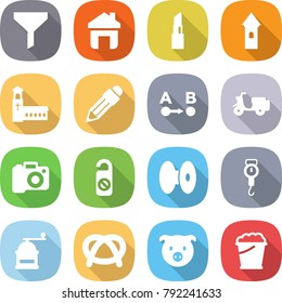 flat vector icon set - funnel vector, home, lipstick, tower, church, pencil, route a to b, scooter shipping, camera, do not distrub, coil, handle scales, hand mill, pretzel, pig, foam bucket