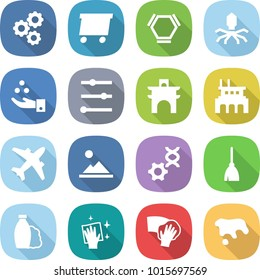 flat vector icon set - gear vector, delivery, hex molecule, virus, chemical industry, equalizer, arch, factory, airplane, landscape, dna edit, broom, shampoo, wiping, spot