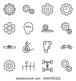 Flat vector icon set - gear vector, gears, clock, thinking, steering gearbox, cardan shaft, generator, engine belt, chain, differential