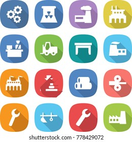 flat vector icon set - gear vector, nuclear power, factory, customs control, fork loader, table, press, pipes, metal rolling, wrench, plow