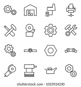 Flat vector icon set - gears vector, warehouse, factory server, printer, screwdriver cross hammer, bell, gear, wrench, cardan shaft, nut, chain, angle grinding machine, grinder, oil