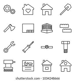 Flat vector icon set - gears vector, family home, shovel, axe, drawing, building, blocks, wrench, screwdriver, cardan shaft, bolt, grinder, repair, house