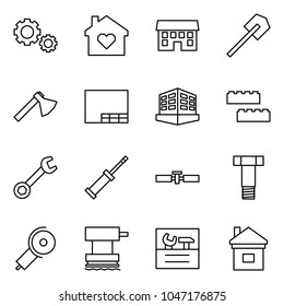 Flat vector icon set - gears vector, family home, house, shovel, axe, drawing, building, blocks, wrench, screwdriver, cardan shaft, bolt, angle grinding machine, grinder, repair