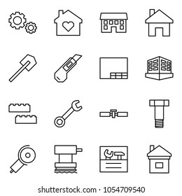 Flat vector icon set - gears vector, family home, house, shovel, cutter, drawing, building, blocks, wrench, cardan shaft, bolt, angle grinding machine, grinder, repair