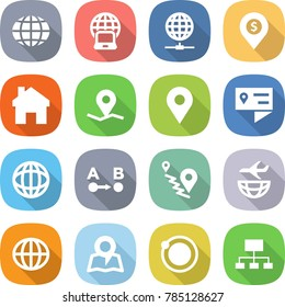 flat vector icon set - globe vector, notebook, connect, dollar pin, home, geo, location details, route a to b, plane shipping, map, orbit, hierarchy