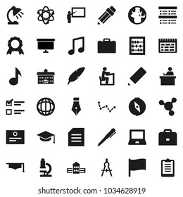 Flat vector icon set - graduate hat vector, pen, university, pencil, school building, blackboard, drawing compass, student, case, atom, microscope, table lamp, notebook pc, schedule, medal, abacus