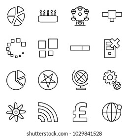 Flat vector icon set - graph vector, cake, ferris wheel, connection, loading, disable server, circle diagram, pentagram, globe, gears, fan, rss, pound