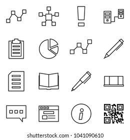 Flat vector icon set - graph vector, network star, warning, connected servers, clipboard, circle diagram, statistics, pen, document, open book, blackboard, chat, internet store, information, qr code