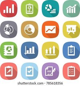flat vector icon set - graph vector, report, diagram, circle, statistics, presentation, annual, up, clipboard, pen, check, inventory, list