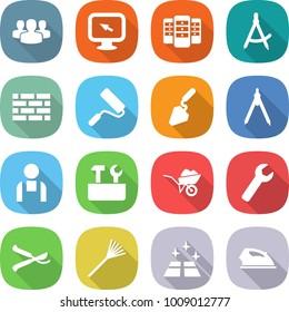 flat vector icon set - group vector, monitor arrow, server, draw compass, brick wall, repair, construction, drawing compasses, workman, tools, wheelbarrow, wrench, pruner, rake, clean floor, iron
