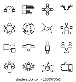 Flat vector icon set - group vector, comments, friendship, family tree, network, star, share, connection, user, meeting, spark distributor, like