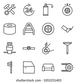 Flat vector icon set - hammer wrench cross vector, around 24, oil, tyre balance, silent block, suspension arm, brake disk, pedal, fluid reservoir, cardan shaft, generator, valve, caliper, door, sofa
