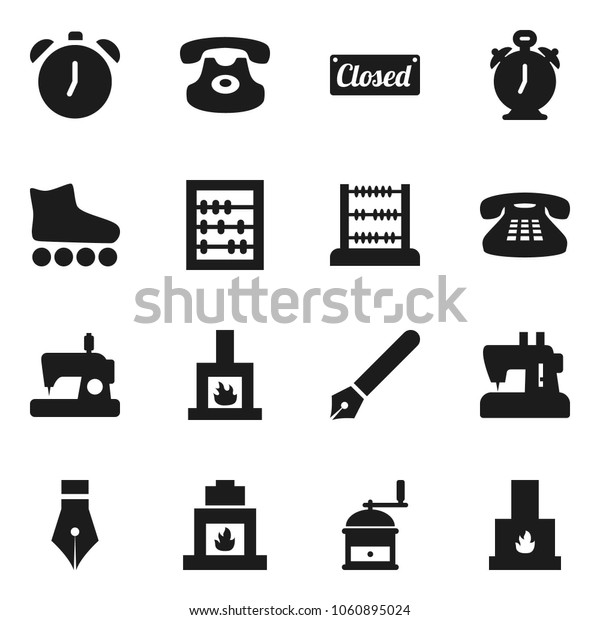 Flat vector icon set - hand mill vector, pen, alarm clock, abacus, roller Skates, classic phone, fireplace, closed, sewing machine