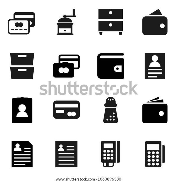 Flat vector icon set - hand mill vector, archive, personal information, credit card, wallet, reader