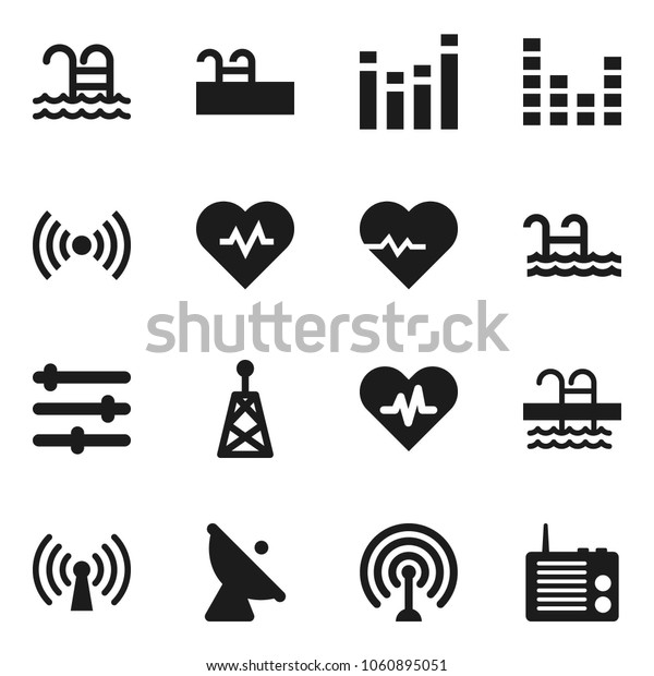 Flat vector icon set - heart pulse vector, pool, satellite antenna, equalizer, wireless, radio