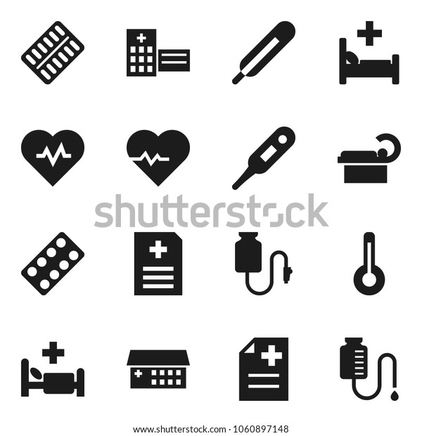 Flat vector icon set - heart pulse vector, thermometer, pills blister, anamnesis, hospital bed, building, tomography, drop counter