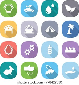 flat vector icon set - hex molecule vector, eco car, blood drop, leafs, barn, flower bed, tent, palm, hawaiian wreath, dna edit, spike, seedling, rabbit, sow, wasp, hand and