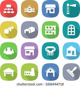 flat vector icon set - hierarchy vector, hospital, shop, lighthouse, houses, warehouse, modular house, arch window, building helmet, antique column, home, garage, factory, barn, scraper