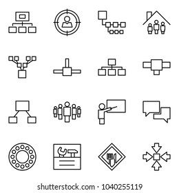 Flat vector icon set - hierarchy vector, target audience, family home, tree, connect, connection, group, teacher, dialog, bearing, repair, cafe sign, assembly