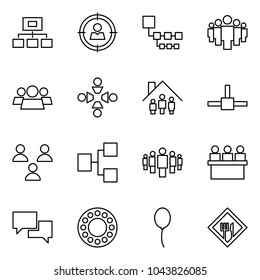 Flat vector icon set - hierarchy vector, target audience, group, friendship, family home, connect, lecture hall, dialog, bearing, balloon, cafe sign