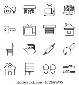 Flat vector icon set - home and tree vector, house, tv, building, key, garage, chair, kettle, rolling pin, wardrobe, slippers