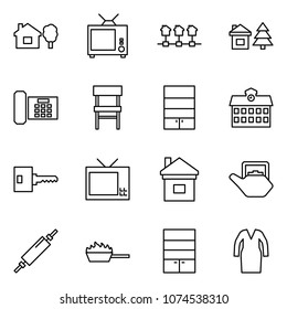 Flat vector icon set - home and tree vector, tv, local network, chalet, phone, chair, bookcase, school, key, kettle, rolling pin, fire pan, wardrobe, bathrobe