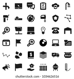 Flat vector icon set - house hold vector, garbage pile, mixer, bbq, flag, constellation, pie graph, annual report, dollar calendar, heart monitor, route, phone, dialog, notebook pc, eye doctor hat
