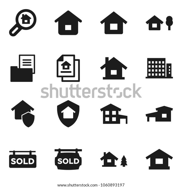 Flat vector icon set - house vector, cottage, chalet, estate document, sold signboard, apartments, search, home protect