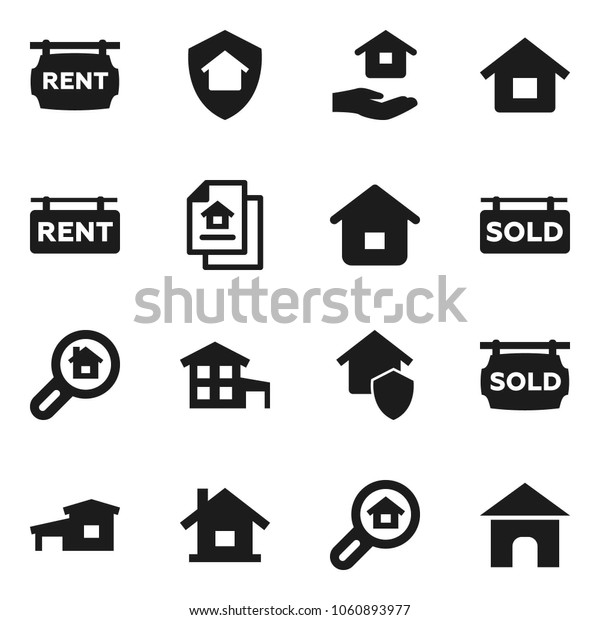 Flat vector icon set - house hold vector, cottage, estate document, rent signboard, sold, search, home protect