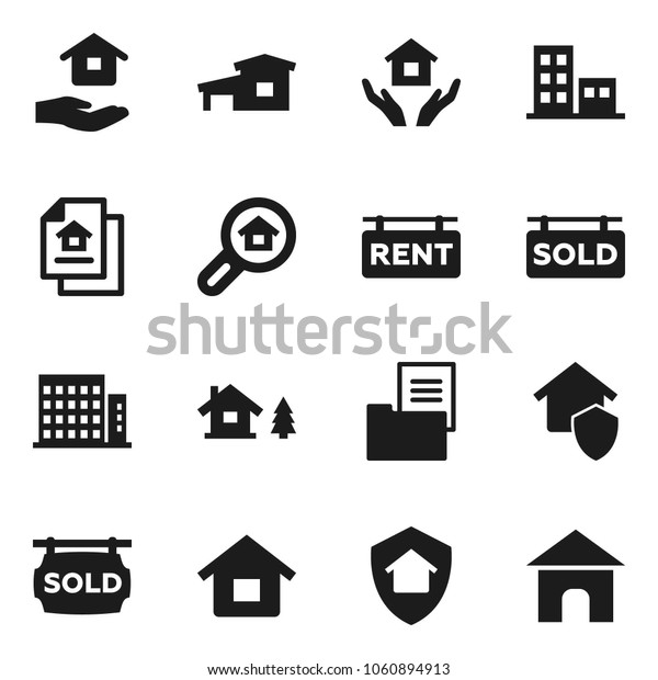 Flat vector icon set - house hold vector, cottage, chalet, estate document, rent signboard, sold, apartments, search, home protect