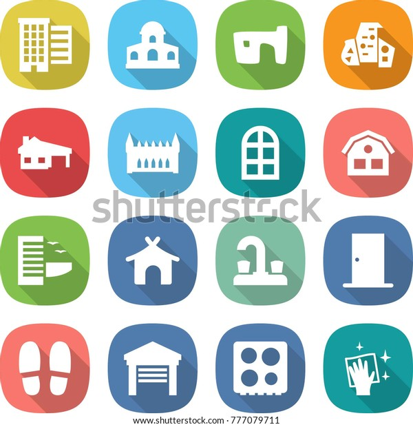 Flat Vector Icon Set Houses Vector Stock Vector (Royalty