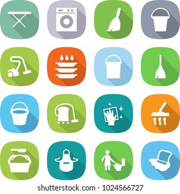 flat vector icon set - iron board vector, washing machine, broom, bucket, vacuum cleaner, plate, wiping, powder, apron, toilet cleaning, floor